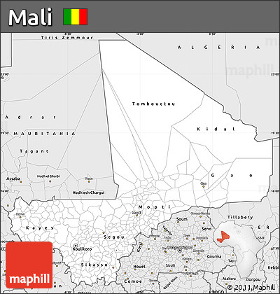 Silver Style Simple Map of Mali