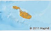 Political Shades 3D Map of Malta, satellite outside, bathymetry sea
