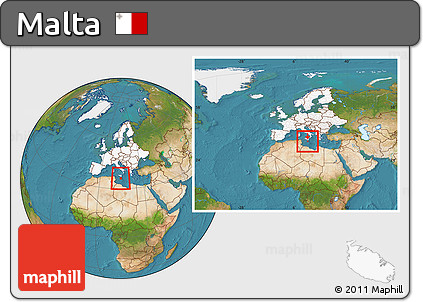 Free Satellite Location Map of Malta highlighted continent within