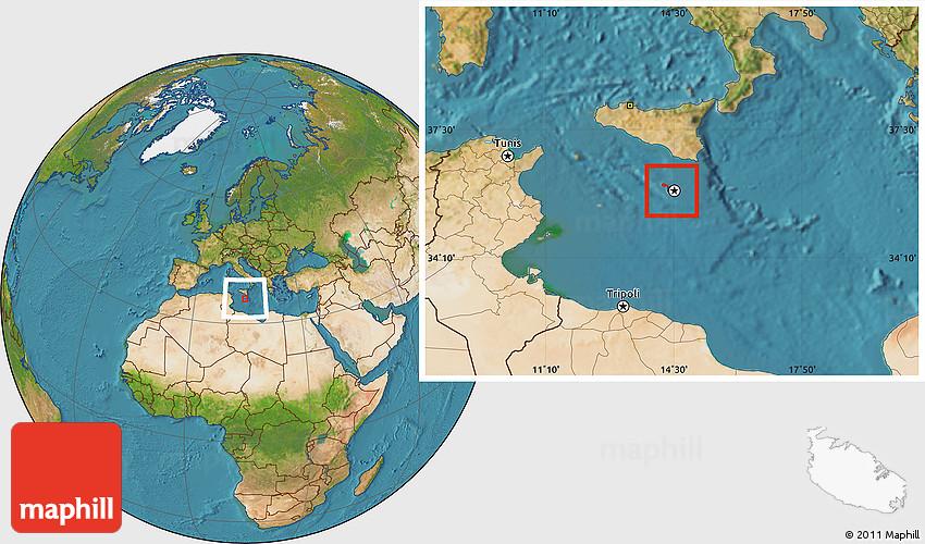 Satellite Location Map of Malta