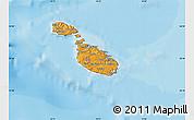 Political Shades Map of Malta, satellite outside, bathymetry sea