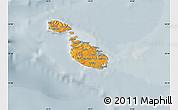 Political Shades Map of Malta, semi-desaturated