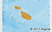 Political Shades Map of Malta, shaded relief outside, bathymetry sea