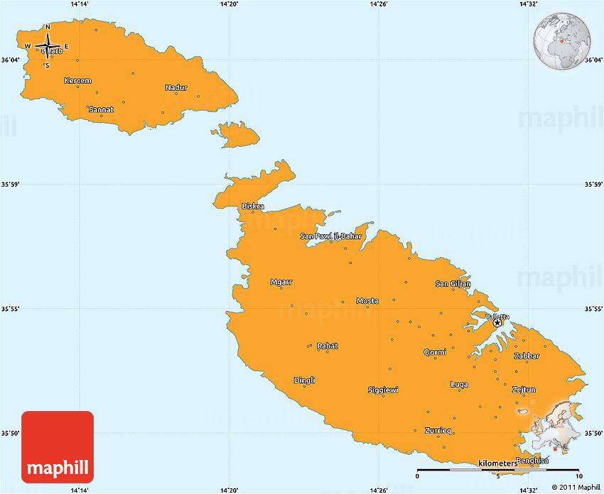 Political Simple Map of Malta