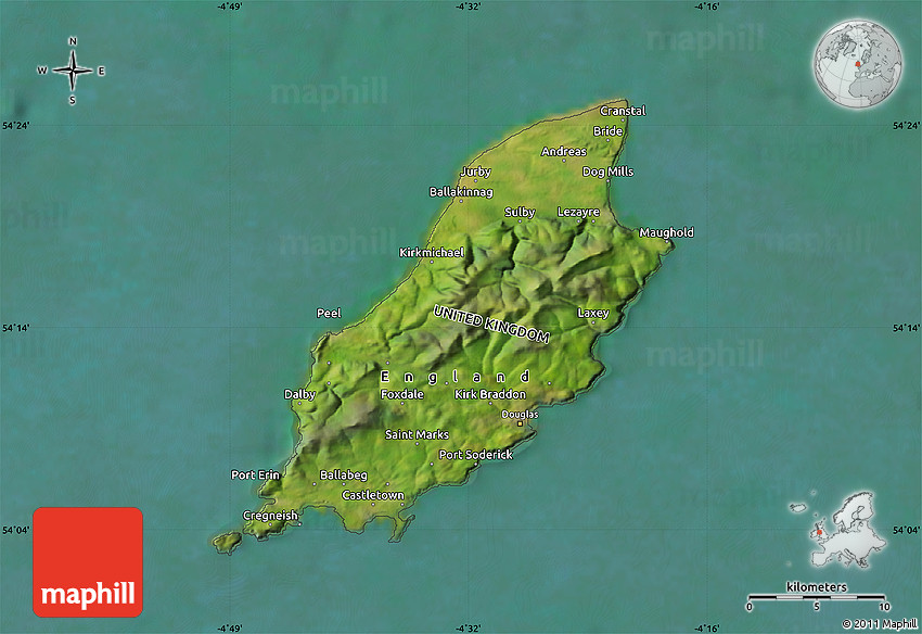 Satellite Map Of Isle Of Man - Isle of man map