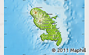 Physical Map of Martinique, darken, land only
