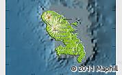 Physical Map of Martinique, darken
