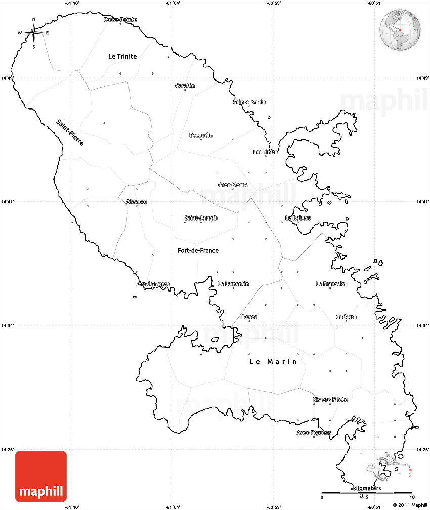 Blank Simple Map Of Martinique - World map blank 2015