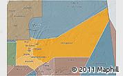 Political Shades 3D Map of Adrar, semi-desaturated