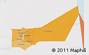 Political Shades 3D Map of Adrar, single color outside