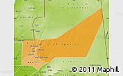 Political Shades Map of Adrar, physical outside