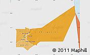Political Shades Map of Adrar, single color outside