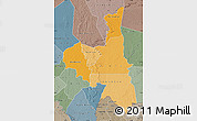 Political Shades Map of Assaba, semi-desaturated