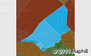 Political Shades Map of Brakna, darken