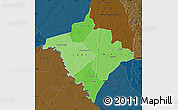 Political Shades Map of Gorgol, darken