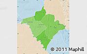 Political Shades Map of Gorgol, lighten