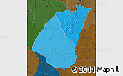 Political Shades Map of Guidimaka, darken