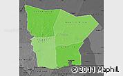 Political Shades Map of Hodh el Gharbi, darken, desaturated