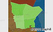 Political Shades Map of Hodh el Gharbi, darken