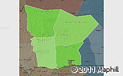 Political Shades Map of Hodh el Gharbi, darken, semi-desaturated