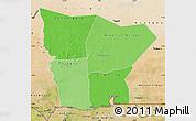 Political Shades Map of Hodh el Gharbi, satellite outside