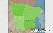 Political Shades Map of Hodh el Gharbi, semi-desaturated