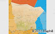Satellite Map of Hodh el Gharbi, political shades outside