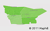 Political Shades Panoramic Map of Hodh el Gharbi, cropped outside