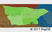 Political Shades Panoramic Map of Hodh el Gharbi, darken