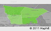 Political Shades Panoramic Map of Hodh el Gharbi, desaturated