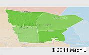 Political Shades Panoramic Map of Hodh el Gharbi, lighten