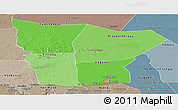 Political Shades Panoramic Map of Hodh el Gharbi, semi-desaturated