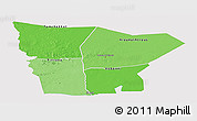 Political Shades Panoramic Map of Hodh el Gharbi, single color outside