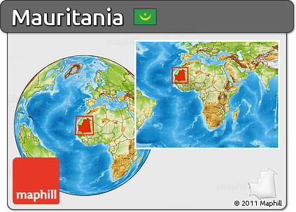 Physical Location Map of Mauritania, within the entire continent