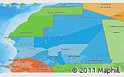 Political Shades Panoramic Map of Mauritania