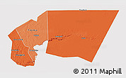 Political Shades 3D Map of Tagant, cropped outside