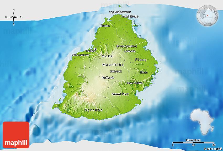 Physical D Map Of Mauritius - Maurtius map