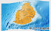 Political Shades 3D Map of Mauritius