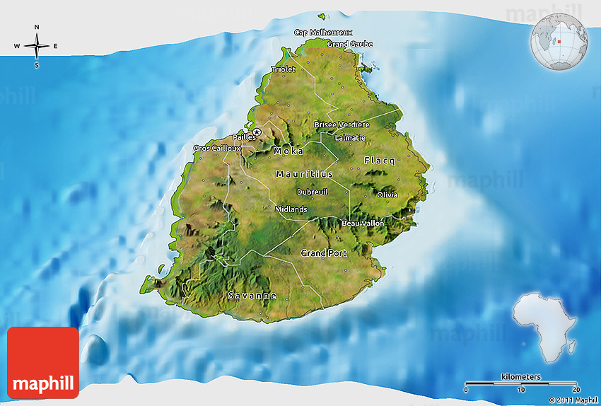 Satellite 3D Map of Mauritius, physical outside