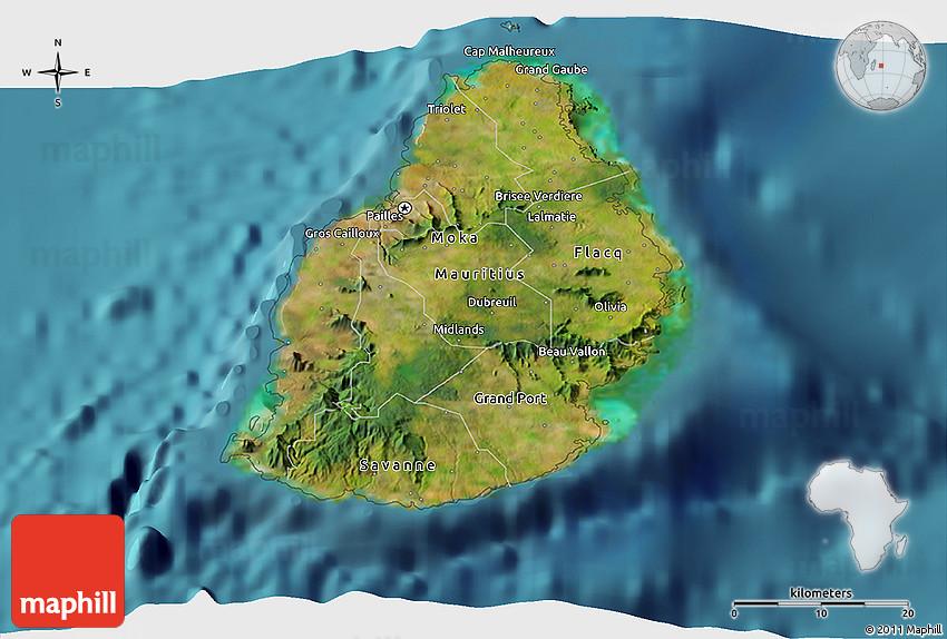 Satellite 3D Map of Mauritius