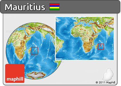 Free Physical Location Map of Mauritius, within the entire ...