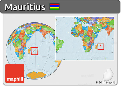 Free Political Location Map of Mauritius within the entire continent