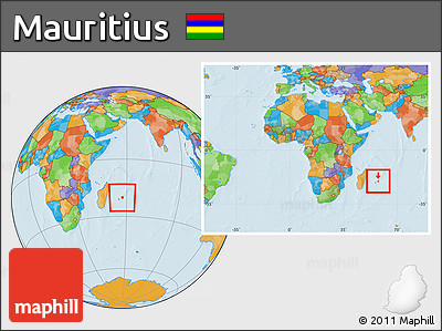 Free Political Location Map Of Mauritius Within The Entire Continent - Political map of mauritius