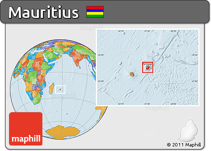 Free Political Location Map of Mauritius