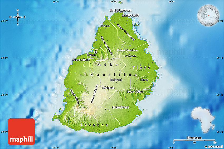 Physical Map of Mauritius