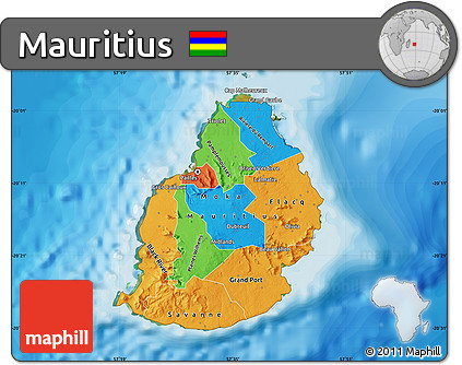 Free Political Map Of Mauritius Satellite Outside Bathymetry Sea - Political map of mauritius
