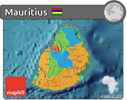 Free Political Map Of Mauritius Satellite Outside - Political map of mauritius