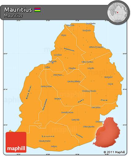 Free Political Simple Map of Mauritius single color outside