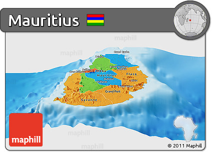 Free Political Panoramic Map Of Mauritius Single Color Outside - Political map of mauritius
