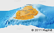 Political Shades Panoramic Map of Mauritius